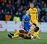 10.11.2019: Livingston v Rangers: Ryan Kent pulls up after collinding with Marvin Bartley