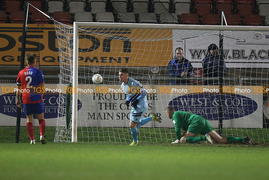 Bradley Ash of Boreham Wood scores the fourth goal for his team during Dagenham & Redbridge vs Boreham Wood, Vanarama National League Football at the Chigwell Construction Stadium on 5th January 2019