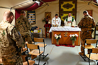 MALI, Gao, Minusma UN peace keeping mission, Camp Castor, german army Bundeswehr , camp church, holy mass / Martinskirche, Gottesdienst