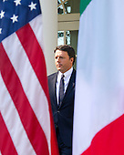 Prime Minister Matteo Renzi of Italy arrives to hold a joint press conference with United States President Barack Obama in the Rose Garden of the the White House in Washington, DC on Tuesday, October 18, 2016. <br /> Credit: Ron Sachs / CNP
