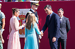 President of the Spanish government Pedro Sanchez greets to Princess Leonor of Asturias during the Military parade because of the Spanish National Holiday. October 12, 2019.. (ALTERPHOTOS/ Francis Gonzalez)