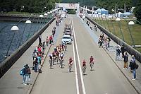 leading peloton over the dam<br /> <br /> Belgian National Road Cycling Championships 2016<br /> Les Lacs de l'Eau d'Heure