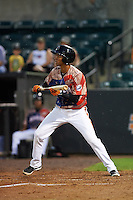 Aberdeen Ironbirds shortstop Ricardo Andujar (18) squares to bunt during a game against the Tri-City ValleyCats on August 6, 2015 at Ripken Stadium in Aberdeen, Maryland.  Tri-City defeated Aberdeen 5-0 in a combined no-hitter.  (Mike Janes/Four Seam Images)