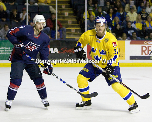 Patrick O'Sullivan (USA 9 - Los Angeles Kings/Mississauga IceDogs), Jonas Frogren (Sweden 24 - Farjestads BK) - Team USA defeated Team Sweden 5-1 on Sunday, April 27, 2008, in an exhibition match at the Cumberland County Civic Center in Portland, Maine, prior to the 2008 World Championships.