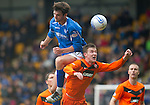 St Johnstone v Dundee Utd....21.04.12   SPL.Paul Dixon is taken out by Cillian Sheridan.Picture by Graeme Hart..Copyright Perthshire Picture Agency.Tel: 01738 623350  Mobile: 07990 594431