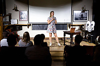 14th July 2019: Comedian Lou Sanders performs her show 'Say Hello to Your New Step Mummy ' on day 2 of the 2019 Comedy Crate Festival, Northampton.