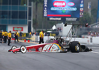 Mar 18, 2016; Gainesville, FL, USA; NHRA top alcohol dragster driver Matthew Cummings during qualifying for the Gatornationals at Auto Plus Raceway at Gainesville. Mandatory Credit: Mark J. Rebilas-USA TODAY Sports