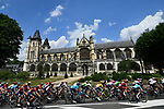 The peloton pass by Collegiale Notre-Dame Des Andelys during Stage 8 of the 2018 Tour de France running 181km from Dreux to Amiens Metropole, France. 14th July 2018. <br /> Picture: ASO/Alex Broadway | Cyclefile<br /> All photos usage must carry mandatory copyright credit (&copy; Cyclefile | ASO/Alex Broadway)