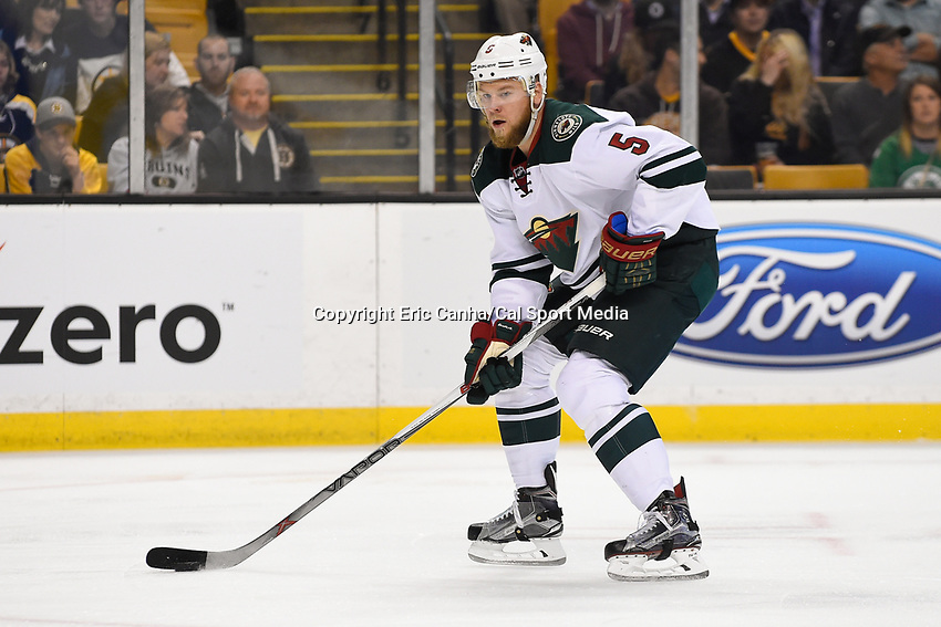 Thursday, November 19, 2015: Minnesota Wild defenseman Christian Folin (5) in game action during the National Hockey League game between the Minnesota Wild and the Boston Bruins held at TD Garden, in Boston, Massachusetts. The Bruins defeat the Wild 4-2. Eric Canha/CSM