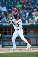 Danny Mendick (17) of the Charlotte Knights at bat against the Toledo Mud Hens at BB&T BallPark on April 23, 2019 in Charlotte, North Carolina. The Knights defeated the Mud Hens 11-9 in 10 innings. (Brian Westerholt/Four Seam Images)