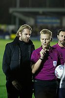 Milton Keynes Dons manager, Robbie Nelson speaks to referee, Michael Jones during the Sky Bet League 1 match between AFC Wimbledon and MK Dons at the Cherry Red Records Stadium, Kingston, England on 22 September 2017. Photo by Carlton Myrie / PRiME Media Images.