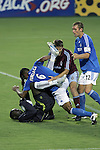 July 22 2007:  Jose Burciaga Jr. (6) of the Wizards received a red card ejection for this altercation with Bouna Coundoul (goalie) of the Rapids, as Rapids teammate Brandon Prideaux (6) and Wizards teammate Jimmy Conrad (12) move in to pull them apart.  The MLS Kansas City Wizards tied the visiting Colorado Rapids 2-2 at Arrowhead Stadium in Kansas City, Missouri, in a regular season league soccer match.