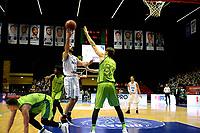 GRONINGEN - Basketbal, Donar - Dinamo Sassari, Martiniplaza, Europe Cup, seizoen 2018-2019, 12-12-2018,  Donar speler Shane Hammink met Sassari  speler  Achille Polonara