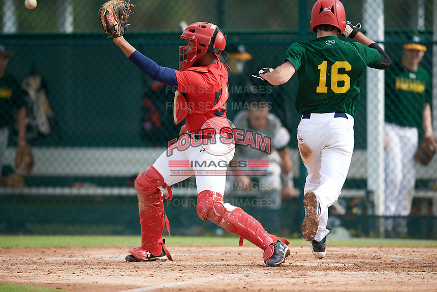 Rafael Mejia Ulerio (57), from Beltsville, Maryland, while playing for the Red Sox during the Baseball Factory Pirate City Christmas Camp & Tournament on December 29, 2017 at Pirate City in Bradenton, Florida.  (Mike Janes/Four Seam Images)