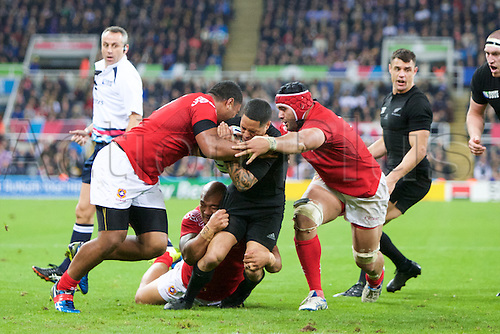 09.10.2015. St James Park, Newcastle, England. Rugby World Cup. New Zealand versus Tonga. New Zealand All Black scrum-half Aaron Smith is tackled.