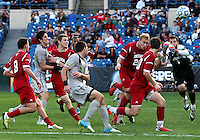 HOOVER, AL - DECEMBER 09, 2012: Luis Soffner (1) of Indiana University clears from a Georgetown University attack during the NCAA 2012 Men's College Cup championship, at Regions Park, in Hoover , AL, on Sunday, December 09, 2012.