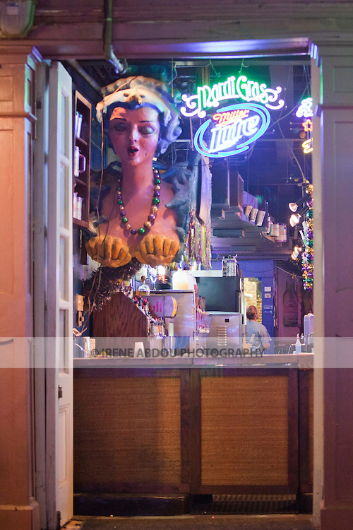 Bourbon Street in New Orleans, Louisiana's French Quarter is home to bars, saloons, and nightclubs.