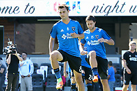 San Jose, CA - Saturday July 29, 2017: Chris Wondolowski, Andres Imperiale prior to a Major League Soccer (MLS) match between the San Jose Earthquakes and Colorado Rapids at Avaya Stadium.