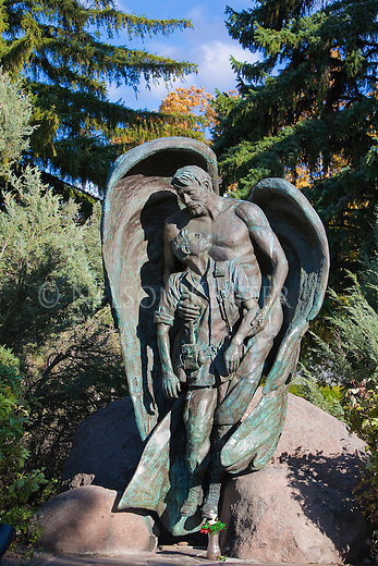 The Vietnam Veteran's memorial statue in Rose Park in Missoula, Montana