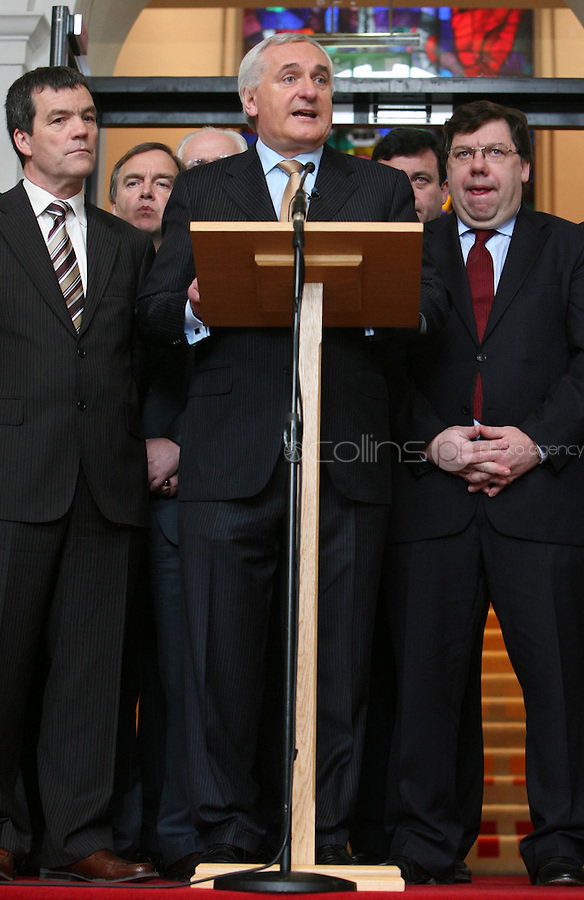 02/04/2008.An Taoiseach Bertie Ahern TD surrounded by government colleagues at Government buildings, Dublin during an announcement that he will  ender his resignation to President Mary McAleese on 6 May..Photo: Gareth Chaney  Collins