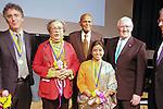 (L-R) Thomas J. Dart, Marian Wright Edelman, Harry Belafonte, Sunitha Krishnan, and Len Cariou at the John Jay Justice Award ceremony, April 5 2011.