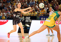 09.10.2016 Silver Ferns Katrina Grant in action during the Silver Ferns v Australia netball test match played at Qudos Bank Arena in Sydney. Mandatory Photo Credit ©Michael Bradley.