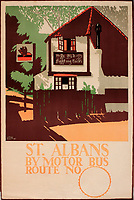 BNPS.co.uk (01202 558833)<br /> Pic: Onslows/BNPS<br /> <br /> St Albans - Trolley or tram travel was encouraged to the then leafy town's and villages around the capital.<br /> <br /> A fascinating treasure trove of old London posters are expected to sell at auction for £20,000 after being discovered in a garage.<br /> <br /> They were produced circa 1920 by the Underground Electric Railway Company to promote the capital's underground, tram and bus networks.<br /> <br /> There is also a charming selection of 'London Characters' posters showing different walks of life including a news boy, a zookeeper, a flower woman and a Covent Garden porter.<br /> <br /> The collection of 35 posters were found rolled up in a garage lock up in Kensington, west London, while it was being cleared out.<br /> <br /> The vendor, a lady in her 80s, inherited them many years ago from her late aunt who was an artist in the 1920s and had her own studio.