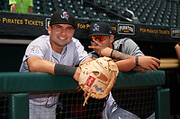 Jupiter Hammerheads Eric Gutierrez (13) and Jordan Yamamoto (23) before the first game of a doubleheader against the Bradenton Marauders on May 27, 2018 at LECOM Park in Bradenton, Florida.  Bradenton defeated Jupiter 13-5.  (Mike Janes/Four Seam Images)