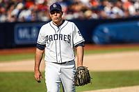 Craig Stammen.<br /> <br /> Acciones del partido de beisbol, Dodgers de Los Angeles contra Padres de San Diego, tercer juego de la Serie en Mexico de las Ligas Mayores del Beisbol, realizado en el estadio de los Sultanes de Monterrey, Mexico el domingo 6 de Mayo 2018.<br /> (Photo: Luis Gutierrez)