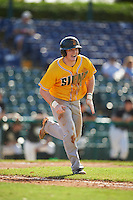 Siena Saints third baseman Brian Kelly (14) runs to first base during a game against the Pittsburgh Panthers on February 24, 2017 at Historic Dodgertown in Vero Beach, Florida.  Pittsburgh defeated Siena 8-2.  (Mike Janes/Four Seam Images)