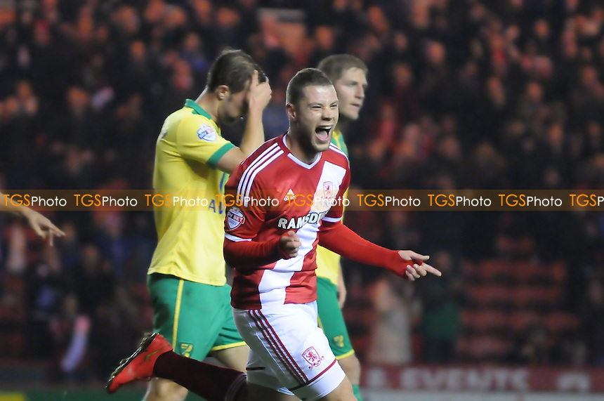 Yanic Wildschut of Middlesbrough celebrates scoring Boro's fourth goal - Middlesbrough vs Norwich City - Sky Bet League Championship Football at the Riverside Stadium, Middlesbrough - 04/11/14 - MANDATORY CREDIT: Steven White/TGSPHOTO - Self billing applies where appropriate - contact@tgsphoto.co.uk - NO UNPAID USE