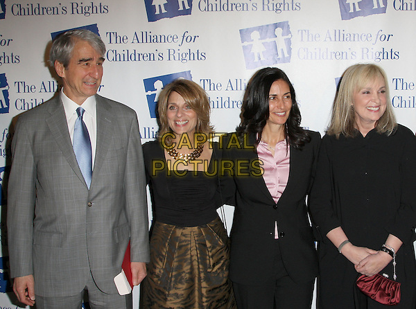 SAM WATERSTON, BRENDA HAMPTON & GUEST.Attending The Alliance for Children's Rights held At The Beverly Hilton Hotel, Beverly Hills, California, USA,.10th February 2010..half length grey gray suit blue tie black suit jacket pink shirt .CAP/ADM/KB. ©Kevan Brooks/AdMedia/Capital Pictures..
