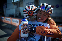 post-race happiness for a teammate winning<br /> <br /> Fl&egrave;che Wallonne F&eacute;minine 2015
