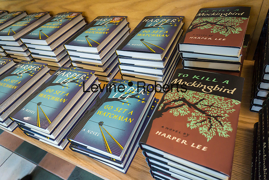 """Stacks of copies of """"Go Set a Watchman"""" by Harper Lee in a Barnes & Noble bookstore in New York on Tuesday, July 14, 2015. The famed Pulitzer Prize winning author Harper Lee's  second novel, """"Go Set A Watchman"""" is a sequel to """"To Kill a Mockingbird"""" published 50 years ago. Watchman was actually written prior to Mockingbird and was recently found after being thought lost. (© Richard B. Levine)"""