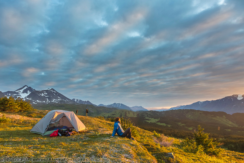 Hiker and tent camp near the Lost Lake Trail, Chugach National Forest, Seward, Alaska.