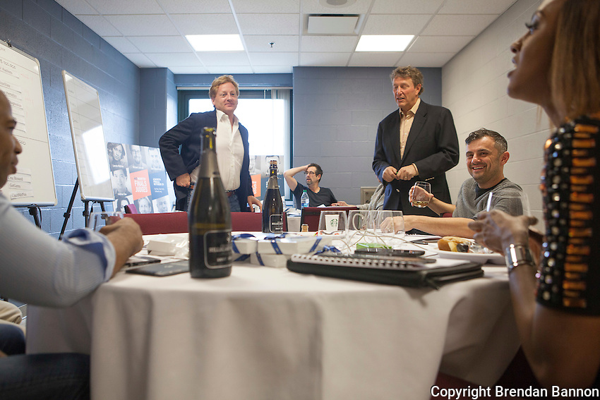 Left to right, Judges Lacarya Scott,<br /> Daniel Lewis,<br /> Michael Lazerow,<br /> Chairman Jordan Levy,<br /> Gary Vaynerchuck, Lauren Maillian choosing the winners after the pitch phase of the competition.<br /> 43North business plan competition held at Shea's Buffalo in Buffalo, NY. The competition awards $5,000,000 dollars annually to start ups. As a condition of the investment award the companies are to  base themselves in Buffalo, NY for one year at an incubator space run by 43North. The final round of the completion was held at Shea's Buffalo Theater in downtown Buffalo, NY. Photo by Brendan Bannon. 10/29/2015