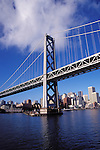 CA, San Francisco, Bay bridge and skyline, between San Francisco and Oakland..Photo caggbr204.   .Photo Copyright: Lee Foster, www.fostertravel.com, 510-549-2202, lee@fostertravel.com
