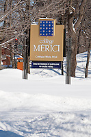 College Merici board is pictured on Rue Grande-Allee Street in Quebec City February 24, 2009. Merici College is a private co-educational college-level institution dispensing a variety of preuniversity and professional programs with an annual student enrolment of about 1 200