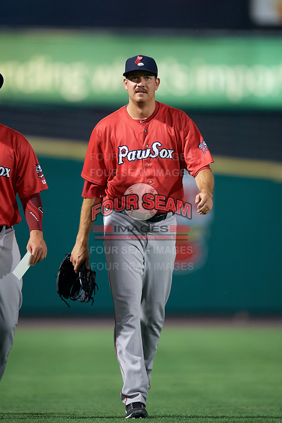 Pawtucket Red Sox pitcher Kyle Martin (40) after a game against the Rochester Red Wings on July 4, 2018 at Frontier Field in Rochester, New York.  Pawtucket defeated Rochester 6-5.  (Mike Janes/Four Seam Images)