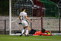 20190823 - OUD HEVERLEE BELGIUM : OHL keeper Louise Van Den Bergh pictured stopping the ball just before the goal line during the female soccer game between the OHL Ladies vs KRC Genk Ladies, the first game for both teams in the Belgian Women's Super League , Friday 23rd  August 2019 at the OHL Jeugdcomplex , Belgium . PHOTO SPORTPIX.BE | SEVIL OKTEM