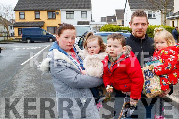 Emma Christie, Jade Christie, Andrew Crashaw, Isaac Christie, Ruby Griffiths who were left homeless after a house fire in Fountain Court on Thursday.