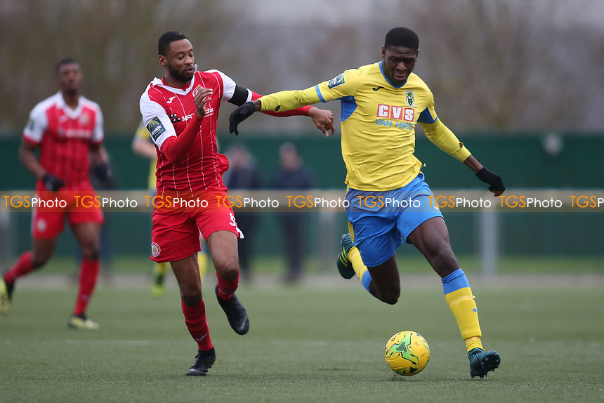 Joel Noble of Haringey and Fabion Simms of Harlow during Harlow Town vs Haringey Borough, Bostik League Premier Division Football at The Harlow Arena on 12th January 2019