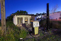 Abandoned Exxon Gas Station at Night in Texas