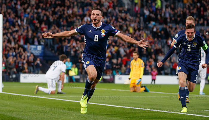 06.09.2019 Scotland v Russia, European Championship 2020 qualifying round, Hampden Park:<br /> John McGinn celebrates his goal
