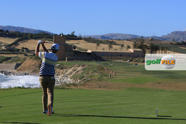 Mark Foster (ENG) on the 16th tee during Round 3 of The Rocco Forte Open  at Verdura Golf Club on Saturday 20th May 2017.<br /> Photo: Golffile / Thos Caffrey.<br /> <br /> All photo usage must carry mandatory copyright credit     (&copy; Golffile | Thos Caffrey)