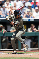 Vanderbilt Commodores third baseman Austin Martin (16) at bat during Game 3 of the NCAA College World Series against the Louisville Cardinals on June 16, 2019 at TD Ameritrade Park in Omaha, Nebraska. Vanderbilt defeated Louisville 3-1. (Andrew Woolley/Four Seam Images)