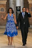 United States President Barack Obama and First Lady Michelle Obama arrive at the Marine Barracks Washington, DC to observe the Evening Parade in Washington, D.C., on June 27, 2014.<br /> Credit: Kristoffer Tripplaar  / Pool via CNP