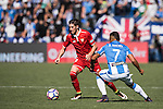 Sergio Escudero Palomo of Sevilla FC competes for the ball with Darwin Machis of Deportivo Leganes during their La Liga match between Deportivo Leganes and Sevilla FC at the Butarque Municipal Stadium on 15 October 2016 in Madrid, Spain. Photo by Diego Gonzalez Souto / Power Sport Images