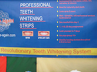 Pictured: The firm selling teeth whitening products at the Royal Welsh Show in mid Wales.<br /> Re: Rogue traders Matthew Hargreaves, John Barry Hargreaves and Jean Hargreaves are due to be sentenced at Merthyr Tydfil Crown Court (Friday 16 September 2016) for selling a teeth whitening product with harmful levels of hydrogen peroxide, 110 times the legal limit, after a three year nationwide investigation by Powys County Council's Trading Standards Service culminated in guilty pleas being entered by three Manchester based rogue traders. <br /> Charges relating to Fraud and Consumer Protection offences were pursued relating to the sale of unsafe teeth whitening products across the UK.