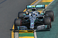 March 16, 2019: Valtteri Bottas (FIN) #77 from the Mercedes AMG Petronas Motorsport team rounds turn 2 during practice session three at the 2019 Australian Formula One Grand Prix at Albert Park, Melbourne, Australia. Photo Sydney Low